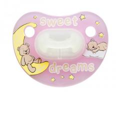 "Пустышка Bibi силиконовая, 12-36 мес. (L) ночная ""Sweet Dreams Pink"" 110148, Швеция"