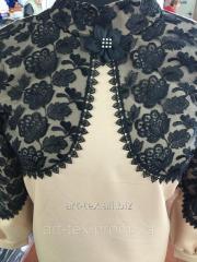 Платье для погребения с гипюром (№12) кофе с молоком