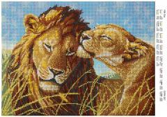 Cхема полной вышивки бисером Мой лев