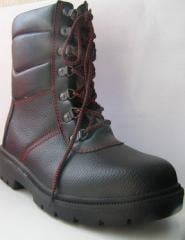 High winter boots genuine leather