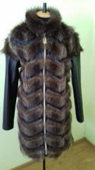 Vest from natural fur of a raccoon