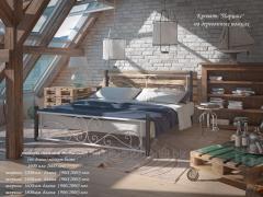 Кровать металлическая Нарцисс на деревьянных ногах