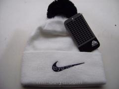 Men's Nike cap with a bubo warm woolen White,