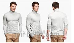 Golf man's polo-neck light gray top,