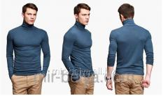 Golf man's polo-neck blue jeans top,