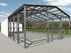 Metal framework of the building