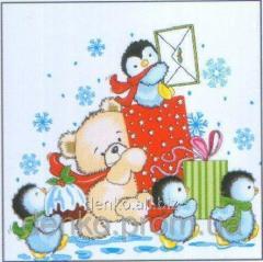 Napkin new year of La Fleur penguins