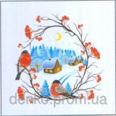 Napkin new year of La Fleur bullfinches