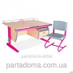 Стол универсальный трансформируемый СУТ.15-04+Стул клен/розовый