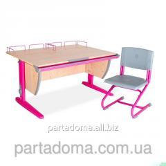 Стол универсальный трансформируемый СУТ.15-01+Стул клен/розовый