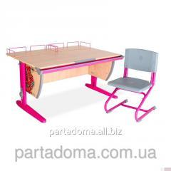 Стол универсальный трансформируемый СУТ.15-01 +Стул клен/розовый с рисунком ,цветы