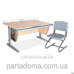 Стол универсальный трансформируемый СУТ.15-01+Стул клен/серый с рисунком ,фрегат