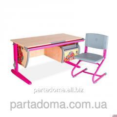 Стол универсальный трансформируемый СУТ.15-03 +Стул клен /розовый с рисунком,цветы