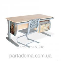 Стол универсальный трансформируемый СУТ.15-03+Стул клен/серый с рисунком ,фрегат