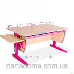 Стол универсальный трансформируемый СУТ.17.04-02 клен/розовый с рисунком,цветы