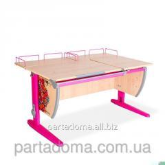 Стол унивирсальный трансформируемый СУТ.17.04-01  клен/розовый с рисунком ,цветы