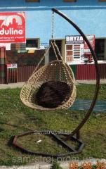 Кресло подвесное яйцо кокон на стойке + подушка