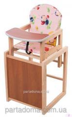 Детский стульчик трансформер, божьи коровки на розовом фоне