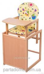 Стул-трансформер для кормления For kids с мдф столешницей и с сиденьем из ткани, бук светлый светлое дерево, желтый с рисунком