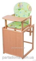 Стул-трансформер для кормления For kids с мдф столешницей и с сиденьем из ткани, бук светлый светлое дерево, зеленый с рисунком