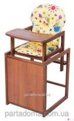 Стул-трансформер для кормления For kids  с мдф столешницей и с сиденьем из ткани, бук темный темное дерево, желтый с рисунком