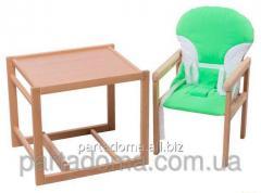Стул-трансформер для кормления For kids с пластиковой столешницей, бук светлый светлое дерево, зеленый