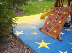 The rubber covering for playgrounds, thickness is