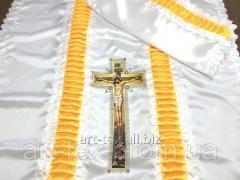 Ритуальный комплект П14к, цветная печать белый/золото