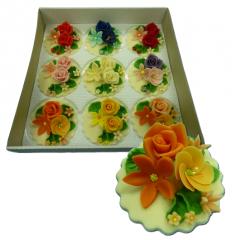Марципановые букеты цветов для украшения тортов