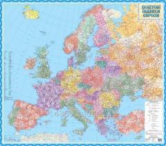 Настенная карта индексов Европы/по квадратам (123х108 см; М1: 4 000 000) - на картоне