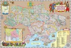 Wall Ukraine map, in the Cossack style (100х70 cm;