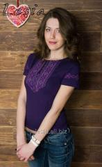 Жіноча футболка з вишивкою мережка фіолет код 1911557