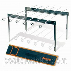 Set of metal skewers of 6 pieces with a support