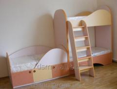 Bed 2-level of LDSP for children for the house and