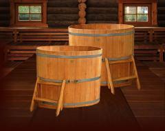Wooden font for a bath and a sauna
