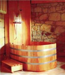 Wooden shower cabins