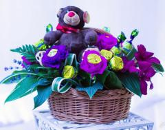 Bouquets from candies. A toy with candies.