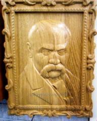 Picture, carving, tree, Taras Shevchenk