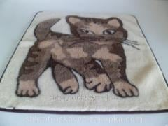 The blanket is woolen, 150 cm by 150 cm,