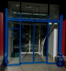 Doors are glass sliding. Kaba automatic equipment