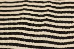 Ткань трикотажная полоска белая и черная