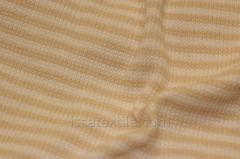 Ткань трикотажная полоска бежевая и кремовая