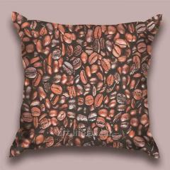 Design throw pillow Coffee grain, art.