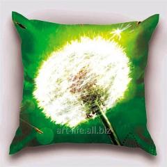 Design throw pillow Summer dandelion, art.