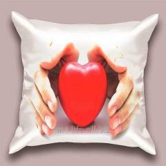 Design throw pillow Kind heart, art.