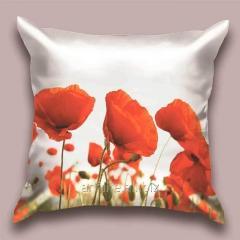 Design throw pillow of the Poppy-head, art.