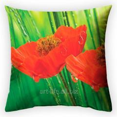 Design throw pillow Poppy color, art.