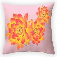 Design throw pillow Fiery flower, art.
