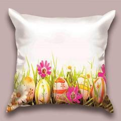 Design throw pillow Easter field, art.