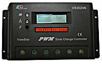 Программируемый фотоэлектрический контроллер заряда ViewStar VS3024N (30А, 12/24Vauto, PWM, LCD)